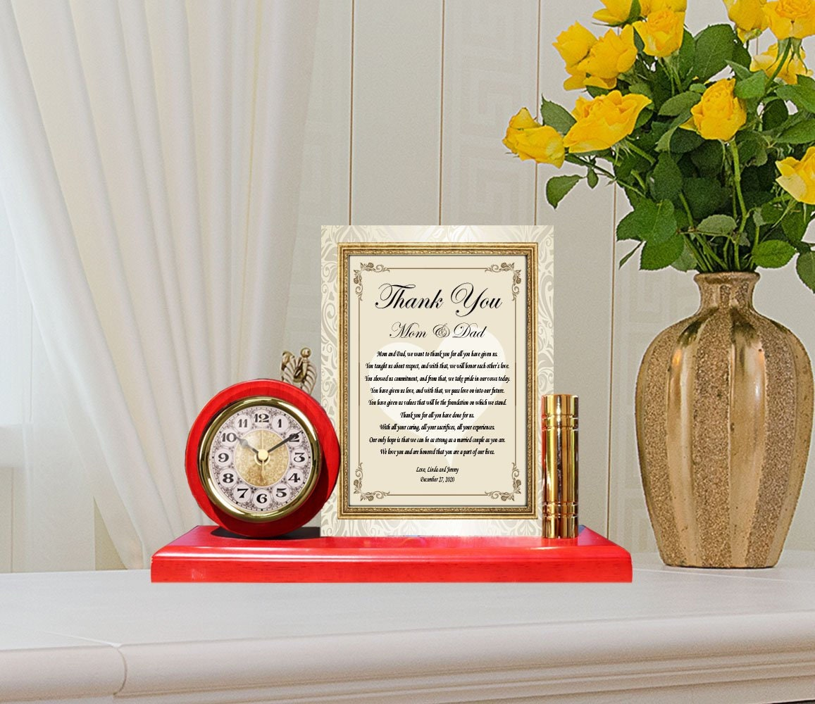 wedding thank you gifts mom dad personalized parents bride groom gold metal clock message letter plaque frame custom inlaw son daughter