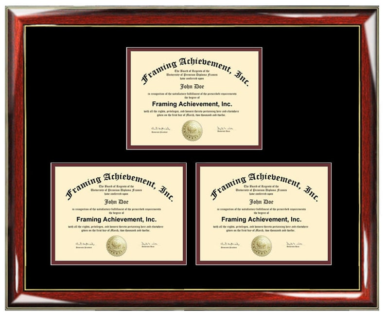 Three Certificate Frame Degree Framing Holds 3 Diploma Etsy