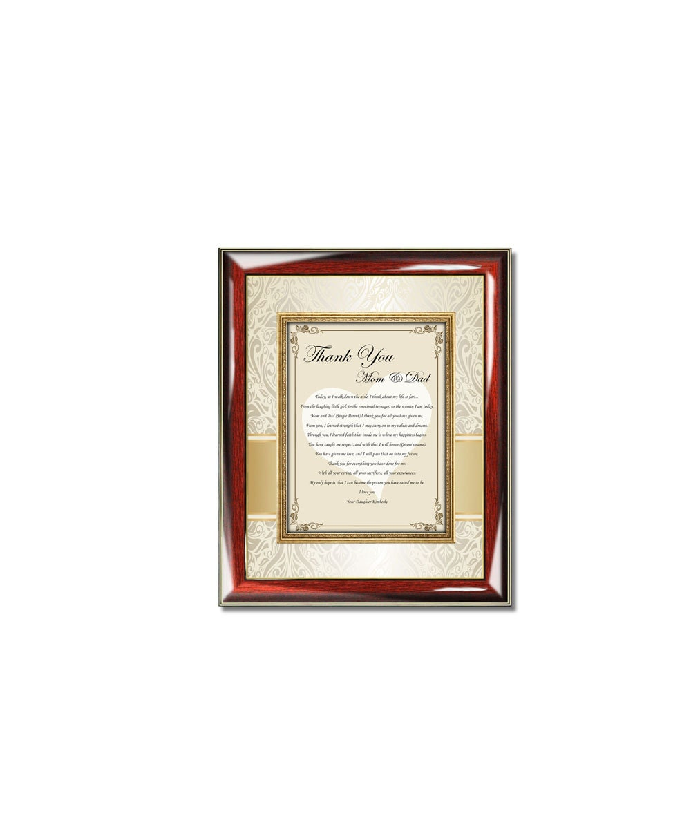 Thank You Parents Poetry Plaque From Daughter Personalized Bride