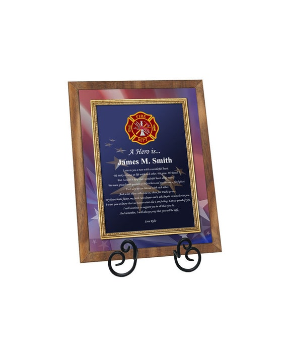 Firefighter Gift Fireman Walnut Plaque Fire Fighter Present Retirement Promotion