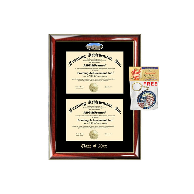 Mary/'s Campus Fisheye Photo Two School Major Certificate Diploma Frame Emboss Holder St Mary/'s University Texas Double Diploma Display St