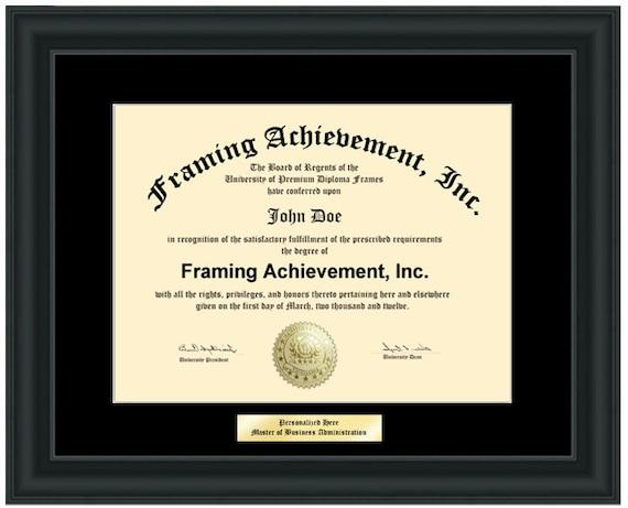 College Diploma Frame Engraving Plate Black Mat Satin Black | Etsy