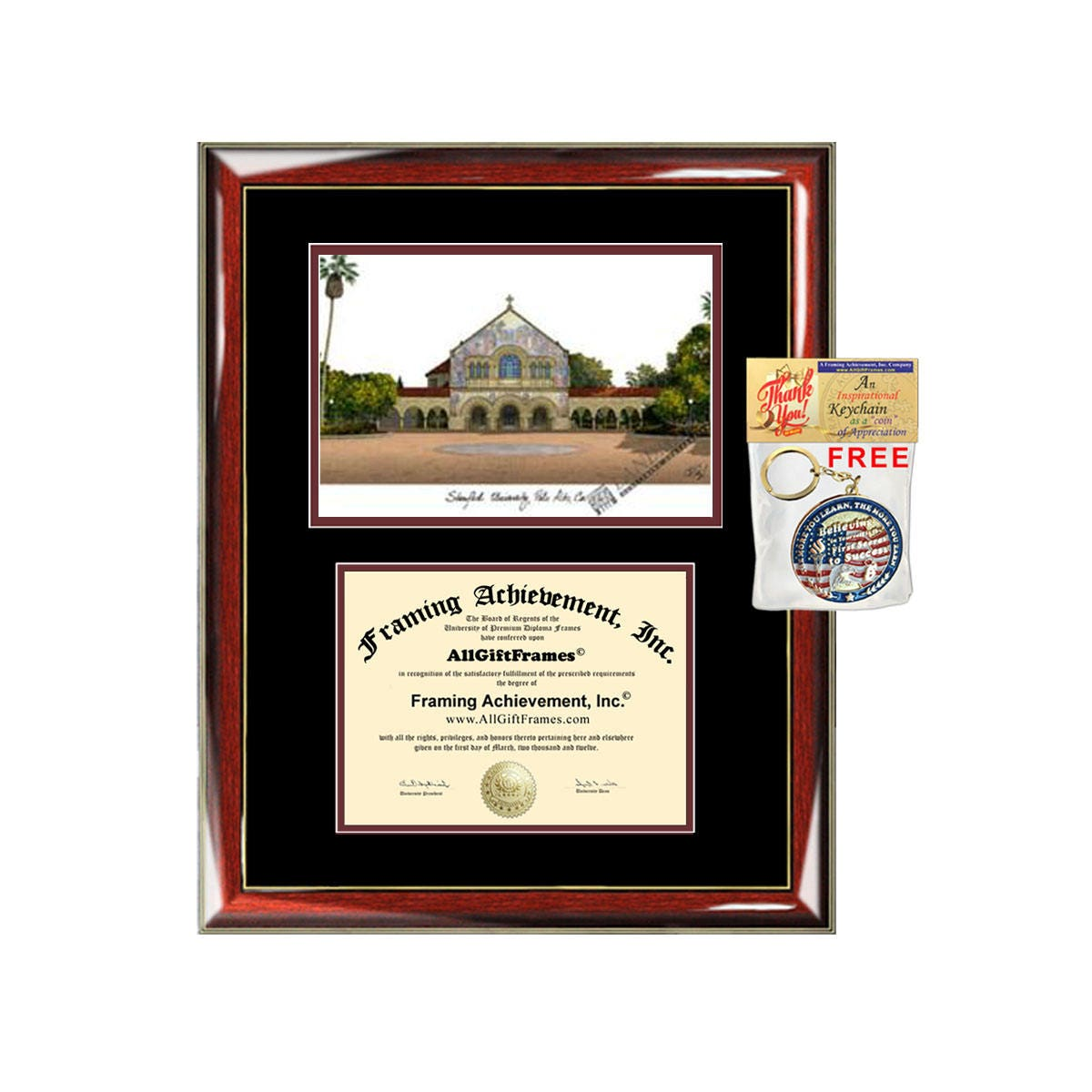 Stanford diploma frames lithograph Stanford University degree frame