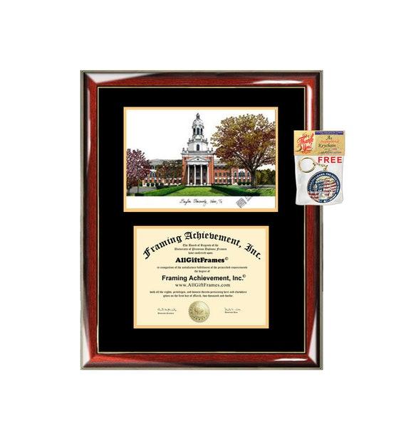 Baylor University Diploma Frame Lithograph Campus Image Baylor Etsy