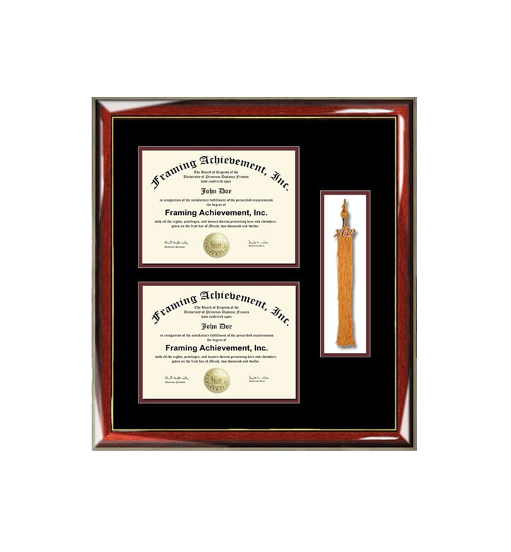 Graduation tassel diploma frame with two degree high school college ...