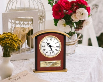 Tabletop Desk Engraved Clocks Decorative Shelf Personalized Etched Housewarming Gift Retirement Birthday Present Gold Employee Coworker Boss