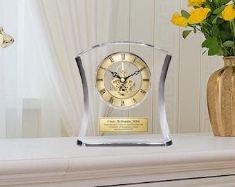 Crystal Clock Gold DaVinci Purity Contour Moving Gear Personalized Gift Mantel Shelf Table Clock Wedding Anniversary Birthday Retirement