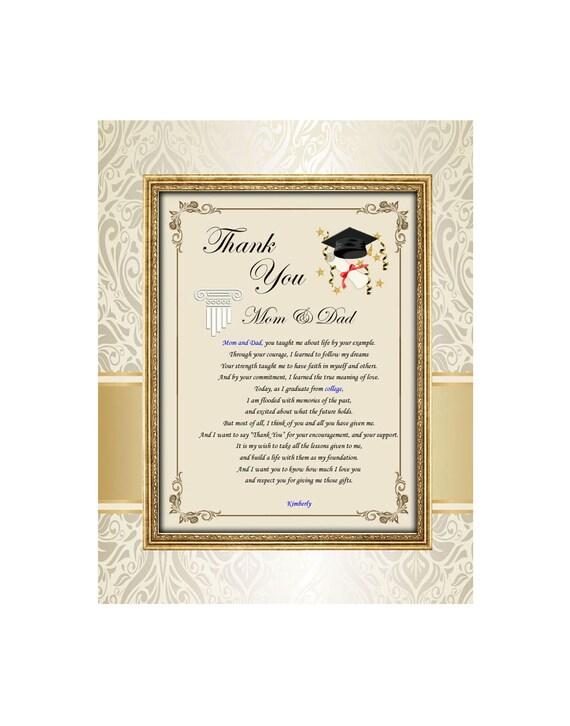 Graduación Gracias Mamá papá poesía familiar sin marco 11 x 14