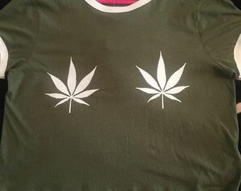 abaed601c5fd9 Pot leaf boobs shirt   Etsy