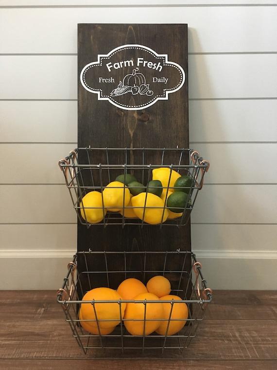 Farm Fresh Produce Hanger/Fruit Bowl/Kitchen Organization/Farmhouse Kitchen  Decor/Rustic Decor/Kitchen Decor/2 Metal Baskets
