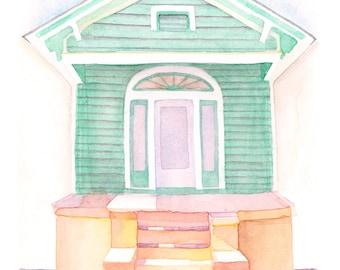 "New Orleans Shotgun House - 5x7"" Watercolor Art Print"