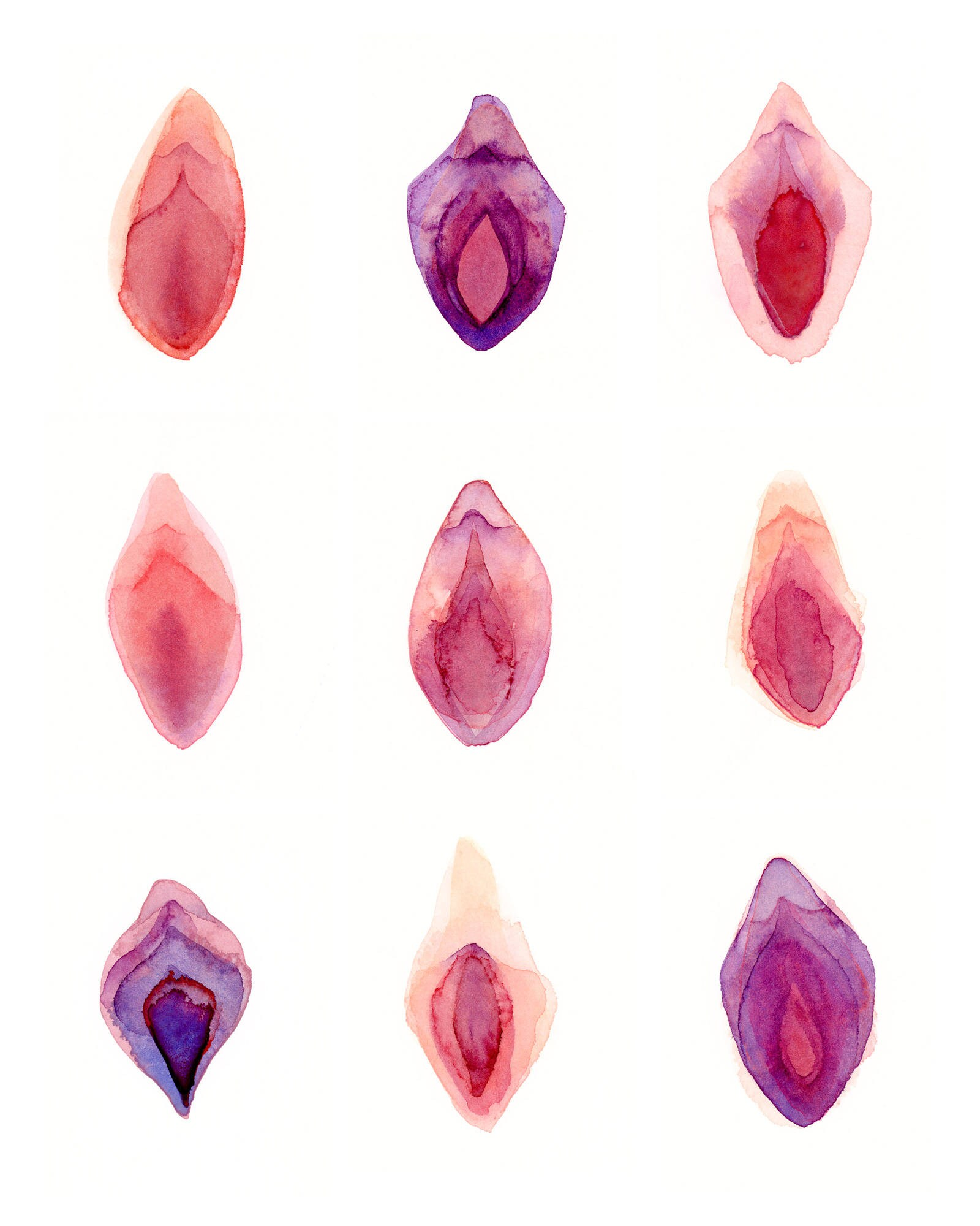 Aquarell Vulva 8 x 10 verfilzt Aquarell Kunstdruck   Etsy