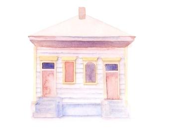 "New Orleans Shotgun House - 7x5"" Watercolor Art Print"