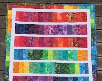 Baby Quilt Modern Handmade Rainbow Quilt Crib Size Quilt 100% Cotton Active