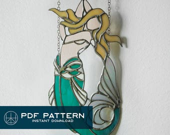 """Sea Siren • 7.5"""" x 12""""Stained Glass Mermaid Pattern PDF •Instant Download"""