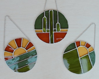 """California Day Dreaming Collection • Made to Order •Handmade Stained Glass 6"""" Suncatcher"""