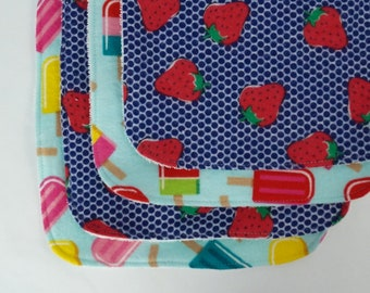 Strawberry and Popsicle Burp Cloths: Set of Four