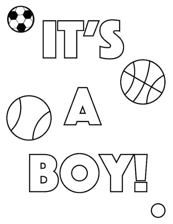 Gender Reveal Coloring Pages 4 Different Designs Etsy