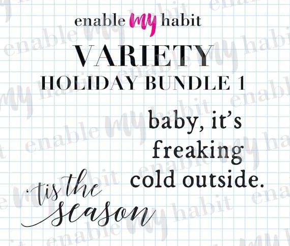 C'est la saison, bébé, il est froid froid froid dehors, Noel, joyeux, joyeux vacances flipper variété Bundle, couper des fichiers pour Silhouette Cameo, modèles de chemise 5e9fe0