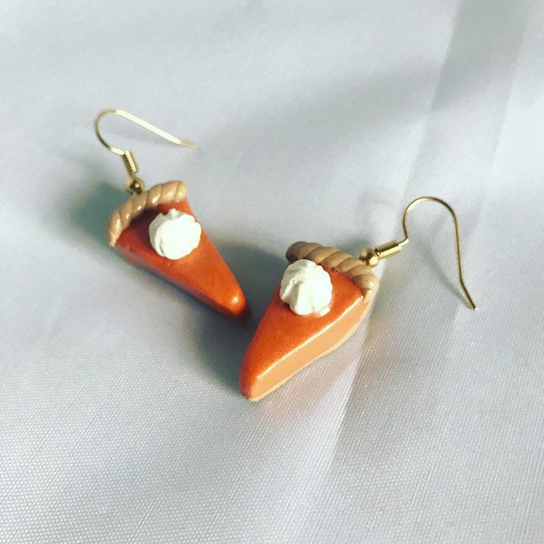Pumpkin Pie Earrings Girls Earrings Tiny Food Mini Food image 0