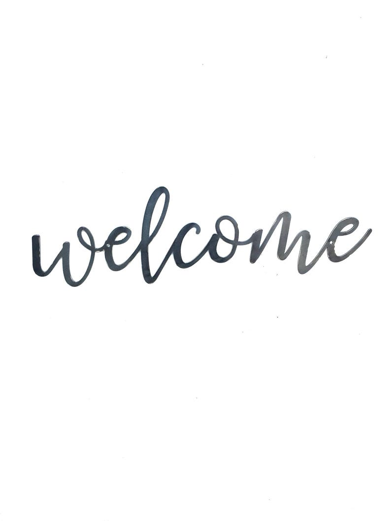 WELCOME Script Metal Word Wall Expressions Cursive words image 0