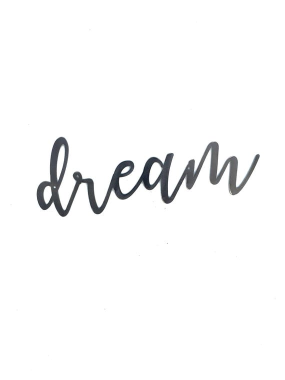 DREAM Script Metal Word Wall Expressions Cursive Words