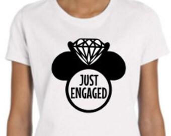 Womens Disney Engagement Shirt, Just engaged mickey hand, Disney Proposal, Custom Disney Shirt