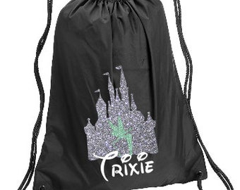 90669018665ad Tink in Castle Personalized bag, Drawstring Backpack, Disney Kids Backpack,  Family Vacation Cinch Sack