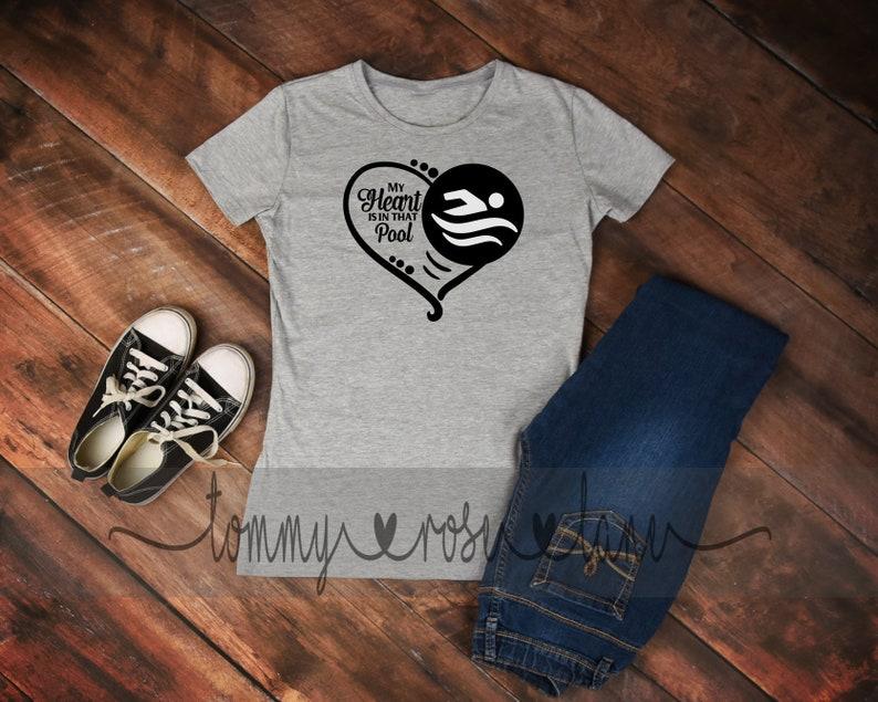 40f103df My heart is in the pool I fly Tshirt Swim Shirt Love | Etsy