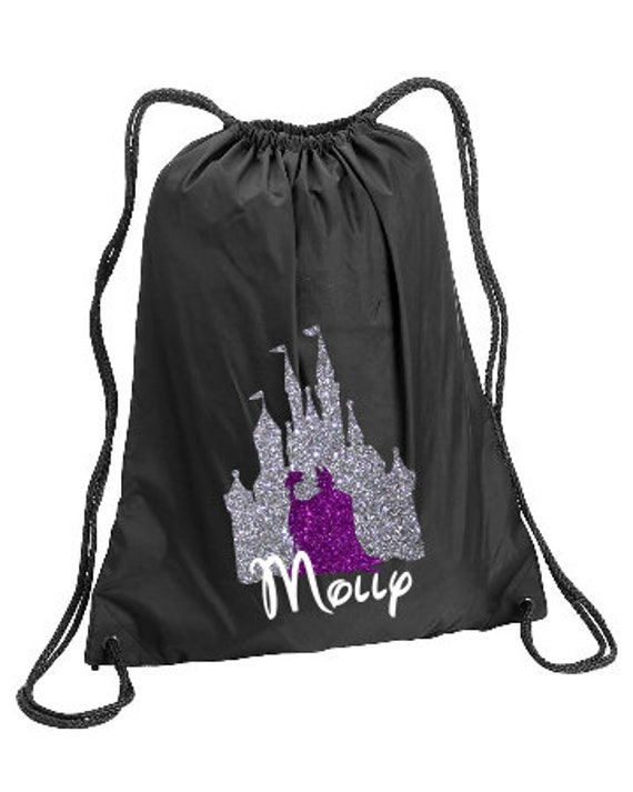 Maleficent In Castle Personalized Bag Maleficent Castle Backpack Disney Trip Kids Drawstring Family Vacation Cinch Sack