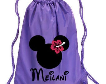 Hawaiian Minnie Personalized bag, Minnie Backpack, Disney Trip Kids backpack, Family Vacation  Minnie Ohana Bag, Minnie Cinch Bag