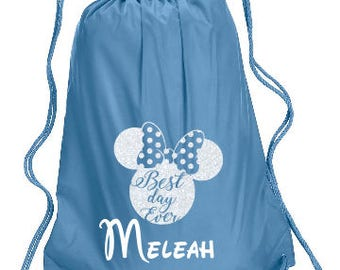 Best Day Ever Minnie Personalized bag, Minnie Backpack, Disney Trip Kids backpack, Family Vacation  Minnie Best Day Ever, Minnie Cinch Bag