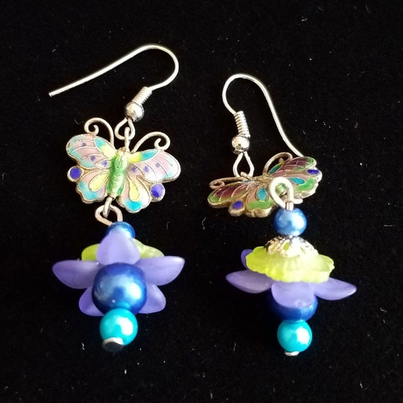 Cloisonne butterfly flower pierced earrings, handmade jewelry, salvage and new material