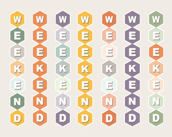 Hexagon Weekend Banner Stickers, Weekend Stickers, Hexagon Stickers, Planner Banner, Weekend Banner Stickers, Inkwell Press Flex // WKB002
