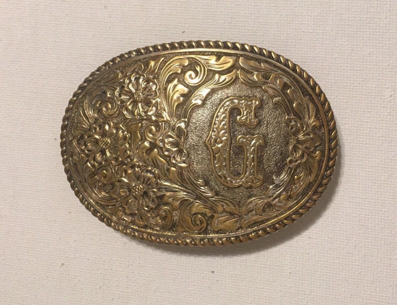 Crumline Belt Buckle Initial G Western Vintage