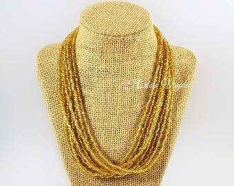 Necklace, multi strand necklace, gold bead necklace, shiny gold necklace, gold necklace, adjustable length, gold beaded necklace, gold bead