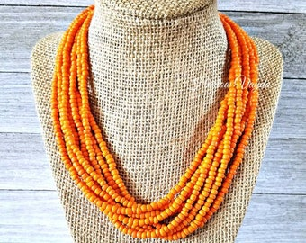 Necklace, multi strand necklace, bright orange necklace, tangerine orange necklace, orange necklace, adjustable length, tangerine necklace