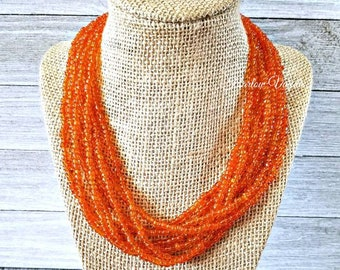 multi strand necklace, orange necklace, orange beaded necklace, orange bead necklace, orange and silver necklace, solid orange necklace