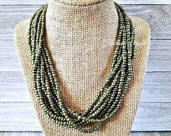 Multi strand necklace, multiple strand necklace, green necklace, olive green necklace, green beaded necklace, beaded necklace, multi beaded