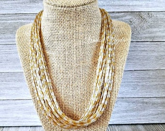 Gold silver multiple strand beaded necklace, gold necklace, silver necklace, gold jewelry, silver jewelry, gold bead necklace, silver bead n