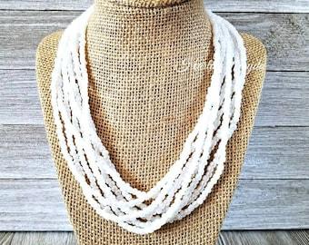White necklace, white beaded necklace, multi strand necklace, adjustable length, white multiple strand necklace, white and silver necklace