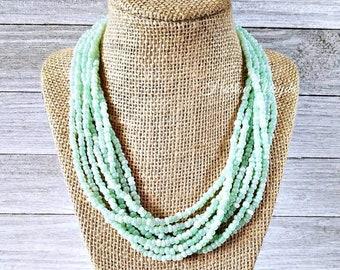 Seafoam green, seafoam necklace, seafoam bead necklace, seafoam beaded necklace, light green necklace, light green beaded necklace, green