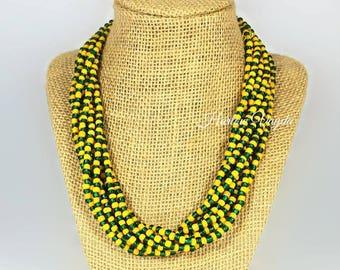 Football necklace, Green Bay, fan jewelry, green and gold necklace, green and yellow necklace, green and gold football necklace, multi stran