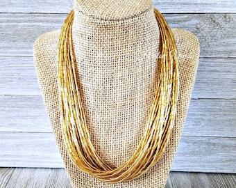 Gold necklace, gold bead necklace, gold beaded necklace, multi strand necklace, solid gold necklace, gold jewelry, gold beaded jewelry