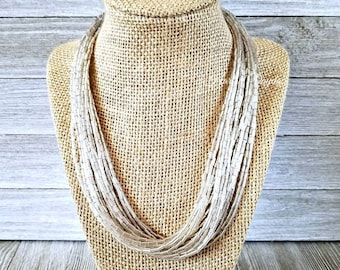 Silver necklace, silver bead necklace, silver beaded necklace, multi strand necklace, solid silver necklace, silver jewelry, silver