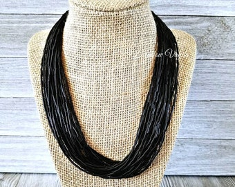 Black necklace, black bead necklace, black beaded necklace, multi strand necklace, black jewelry, gold jewelry, black beaded jewelry, neckla