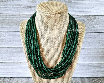 Multi strand necklace, multiple strand necklace, green necklace, forest green necklace, green bead necklace, bead necklace, green and gold