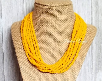 Yellow necklace, bead necklace, adjustable length, yellow bead, yellow beaded, yellow bead necklace, yellow beaded necklace, multi strand