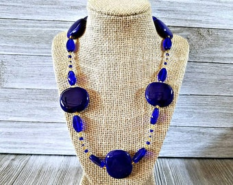 Large blue gold beaded necklace, blue necklace, gold necklace, blue bead necklace, gold bead necklace, chunky necklace, blue jewelry, gold