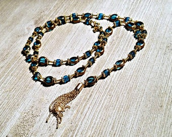 Teal blue gold beaded tassel necklace, teal necklace, gold necklace, tassel necklace, teal bead necklace, gold bead necklace, blue necklace